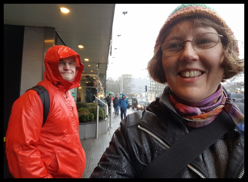 Wet selfie of Andreas and the Author in Amsterdam. Photo by Dragonfly Leathrum