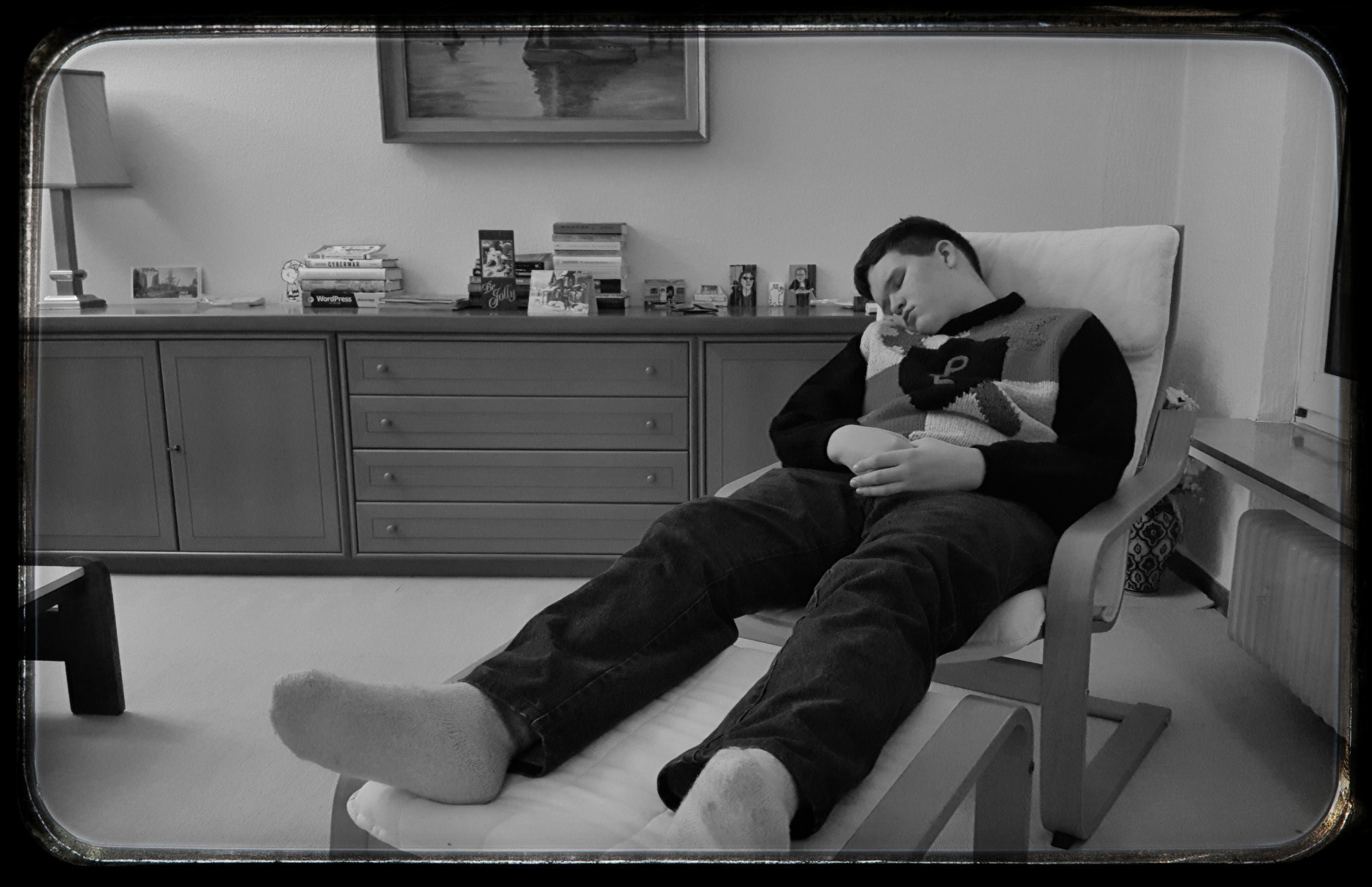 Taller nephew's favorite napping spot. He couldn't stay awake in that chair.