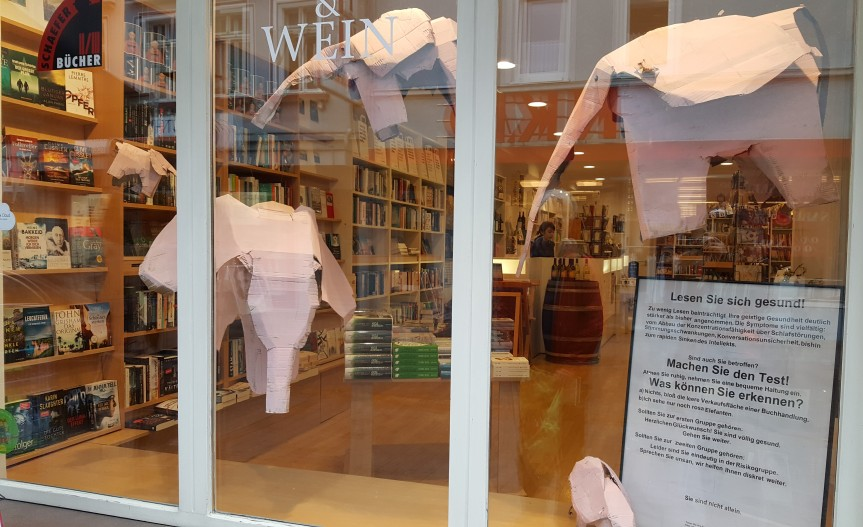 The sign says if you can see pink elephants you should go inside the bookstore so they can help you. Photo by Dragonfly Leathrum