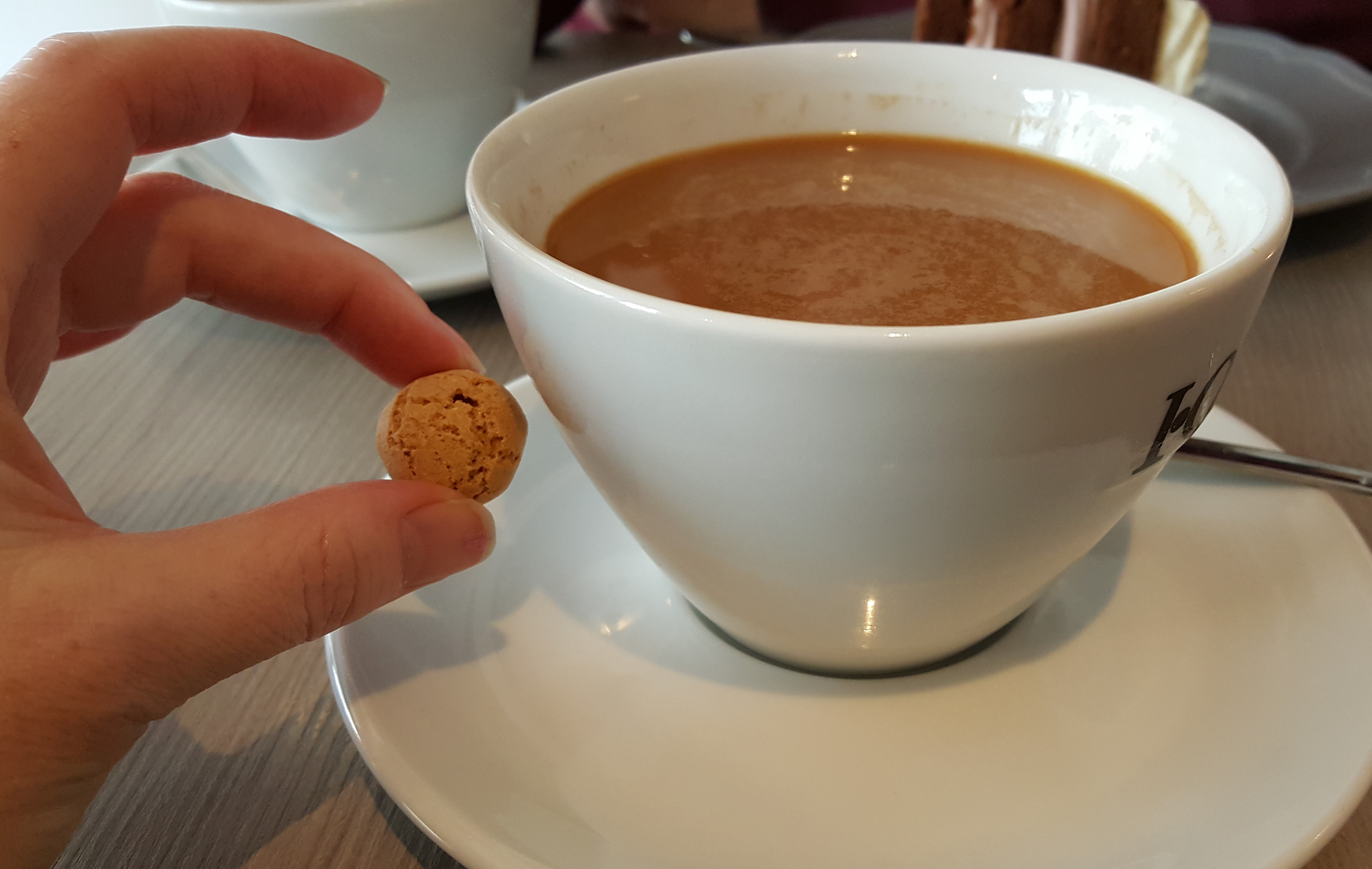 Smallest cookie with biggest coffee. Diez, Germany. Photo by Dragonfly Leathrum
