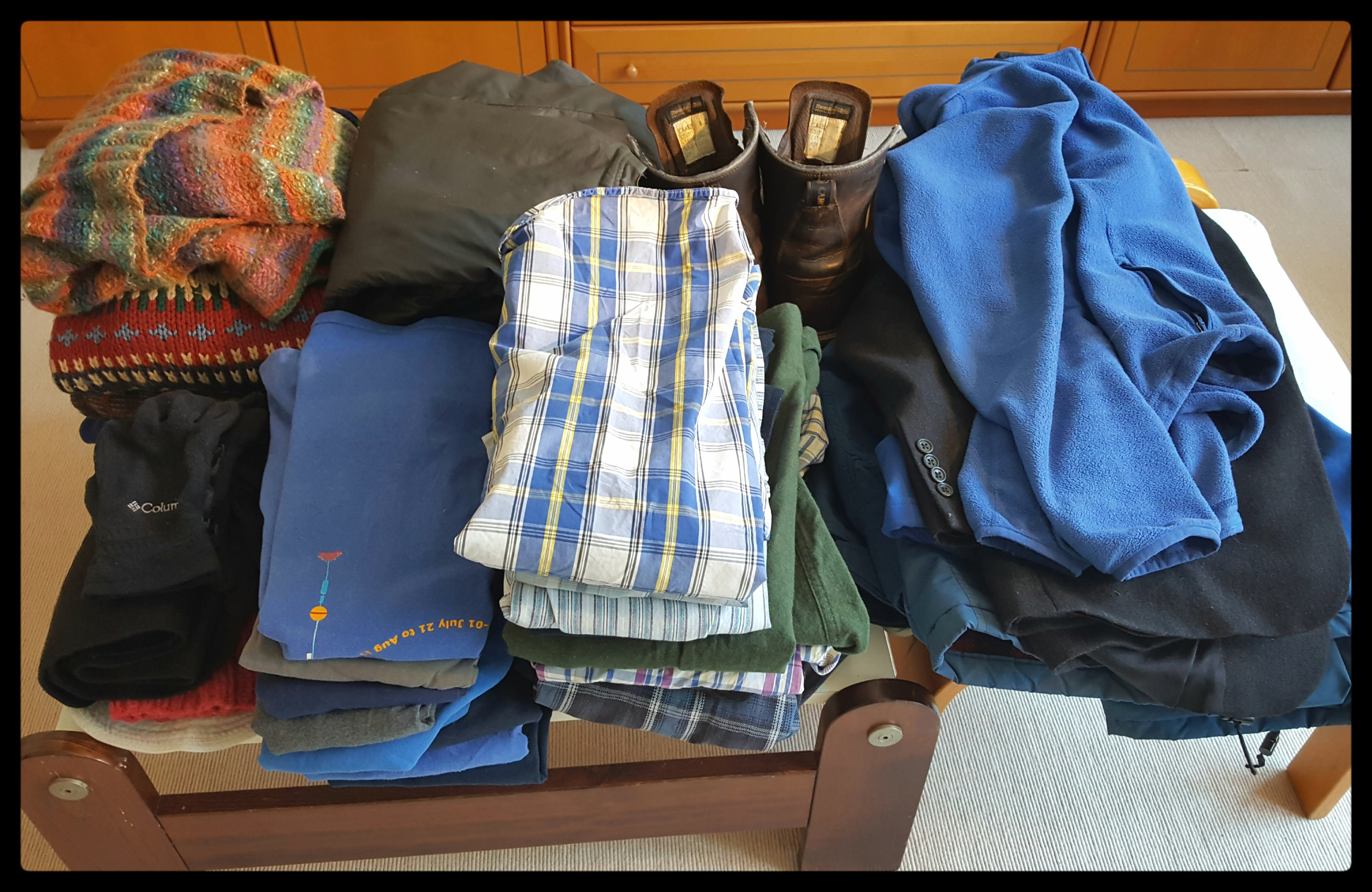 All of the clothes that Andreas packed for a year abroad. Photo by Dragonfly Leathrum