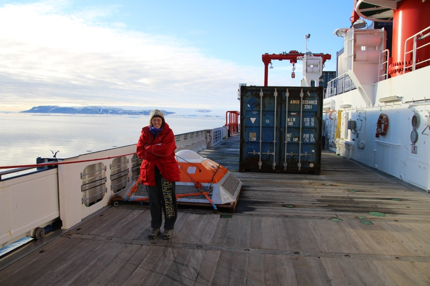 Off the coast of North West Greenland in a borrowed jacket and trusty sweatpants. Andreas saysI shouldn't wear these pants in public because they're too American. I wonder what gives them away? Photo by Andreas Muenchow