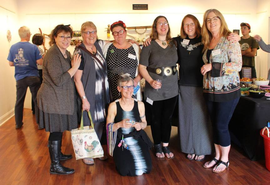 Meet the Trashy Women Artist Collective seen here at their opening at the Newark Arts Alliance From left to right: Sue, Caryn, Trebs, Donna, Dragonfly, Jamie, seated Maggie and not pictured Jo, and Mindy. Photo by Mary Lowenstein Anderson