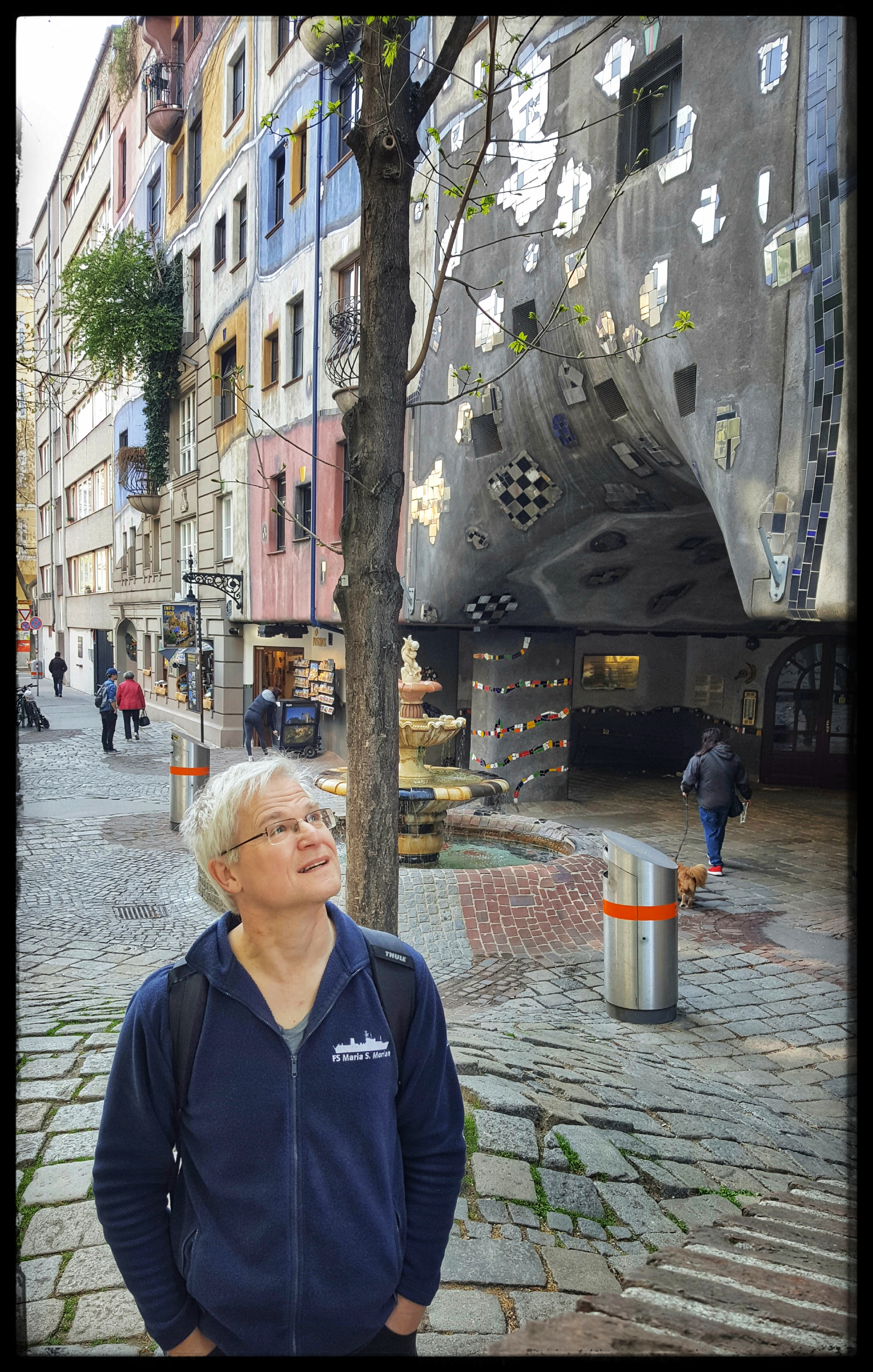 Andreas at Hundertwasserhaus. Photo by Dragonfly Leathrum