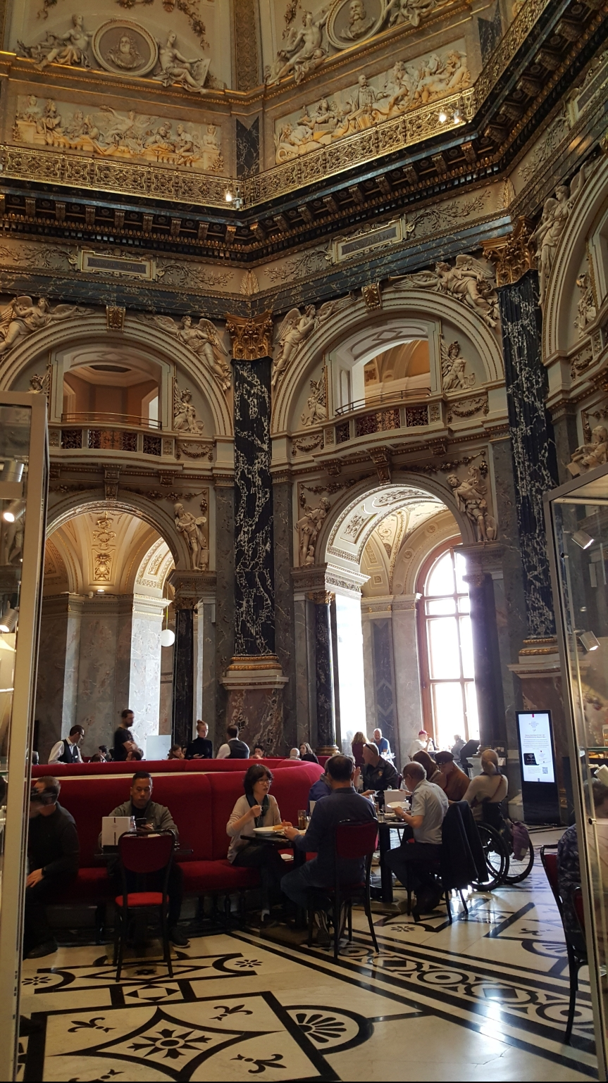 The beautiful cafe in the Kunst Historisches Museum in Vienna. Photo by Dragonfly Leathrum