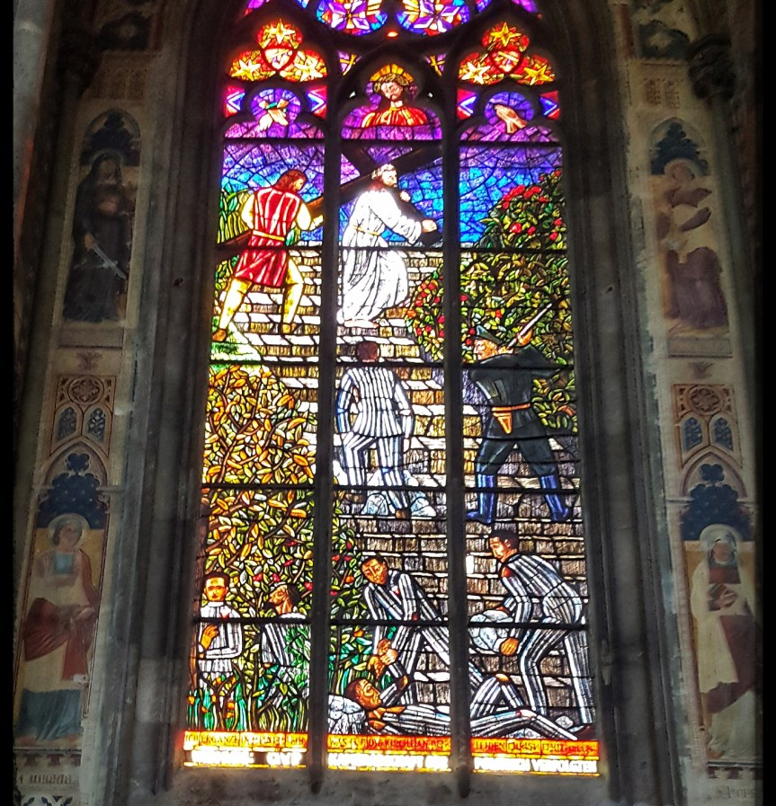 Stained glass in Votivkirche. Photo by Dragonfly Leathrum
