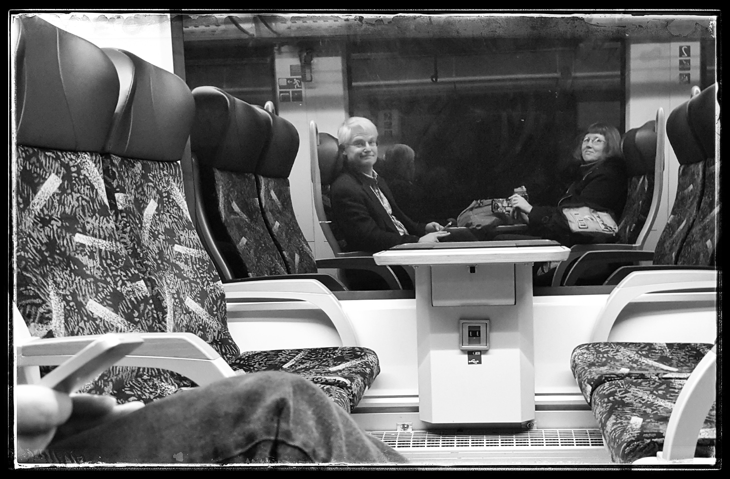 On the regional train. So tired, but almost home. Photo by Dragonfly Leathrum