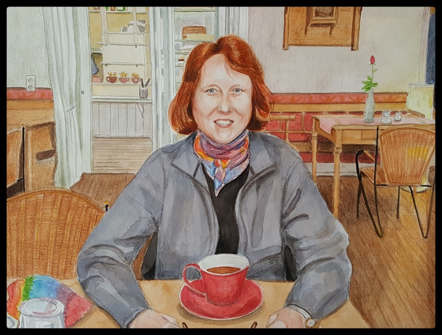 Traveling Diner, self-portrait watercolor and colored pencil 30x40cm