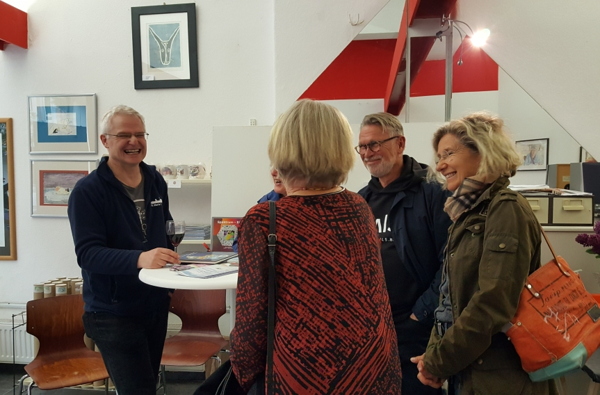 Andreas Muenchow, his mother, Christa in red and our wonderful Landlords from Peace4you at the opening at Art Impressions. Photo by Dragonfly Leathrum