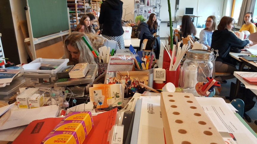 End of the year art instructor's desk. True anywhere. Ha ha. Photo by Dragonfly Leathrum
