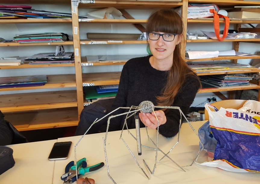 Student working on her Louise Bourgeois inspired sculpture. Photo by Dragonfly Leathrum