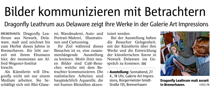 An article about the show from Der Nordsee-Zeitung