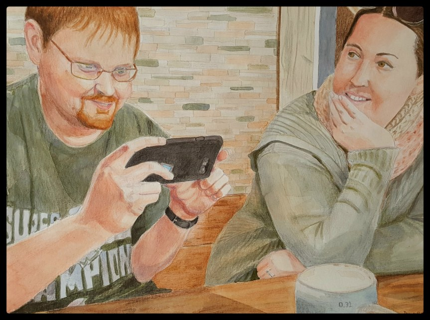 Tourist Diners watercolor and colored pencil 30x40cm. Portraits of Jason and Erin Wright in a Bremerhaven restaurant.
