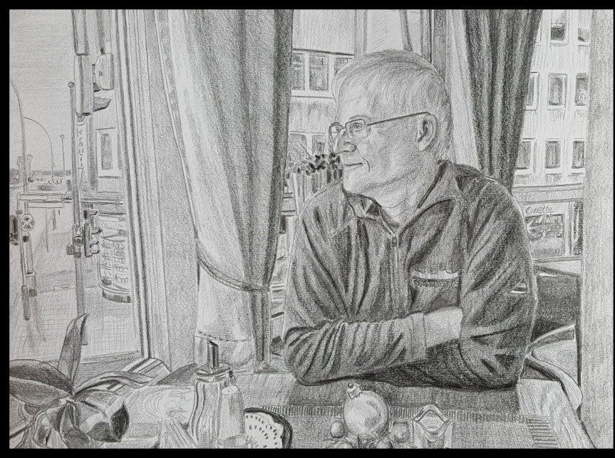 "Portrait of Andreas Muenchow pencil on paper 8x11"" in the National Cafe' Bremerhaven Germany. Drawing and photo by Dragonfly Leathrum"