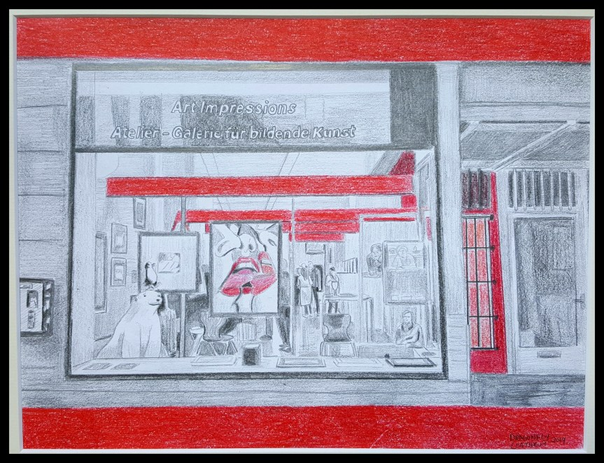 Art Impressions Gallery, pencil and colored pencil 8x11""