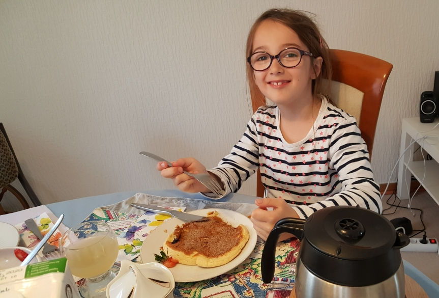 The girls added blueberries, raspberries and strawberries to their pancake creations. When the sat down to eat they asked for plain pancakes instead. Ha ha Photo by Dragonfly Leathrum