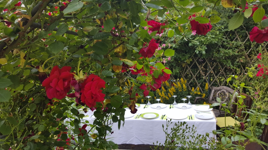 Dinner in the rose garden. Photo by Dragonfly Leathrum