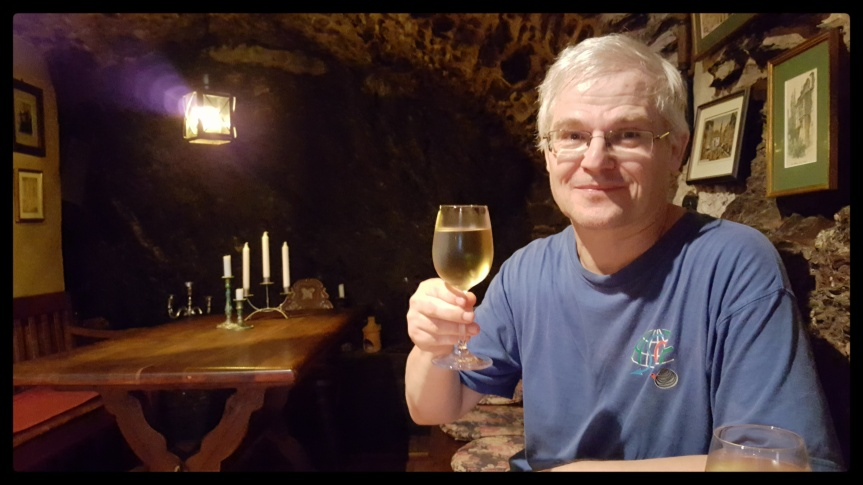 Andreas with his first taste of what became our favorite wine a 2015 Neefer Frauenberg Riesling. Photo by Dragonfly Leathrum