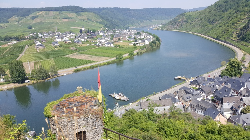 The Moselle from the ruins of Castle Metternich. The lock we sailed through is in the distance. Photo by Dragonfly Leathrum