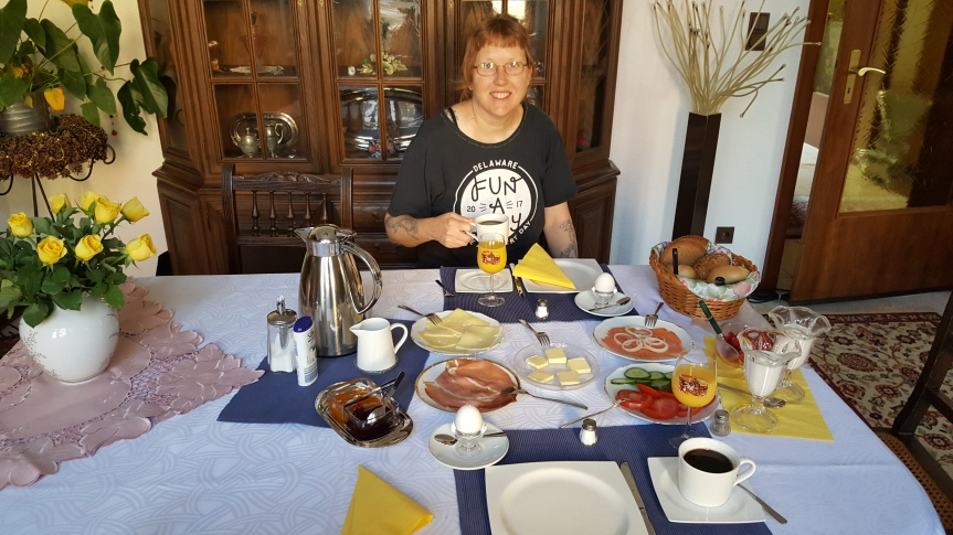 Our daily German breakfast in Ute's living room. She insisted that we pack any extra food that we couldn't eat at breakfast for our travels. Photo by Andreas Muenchow