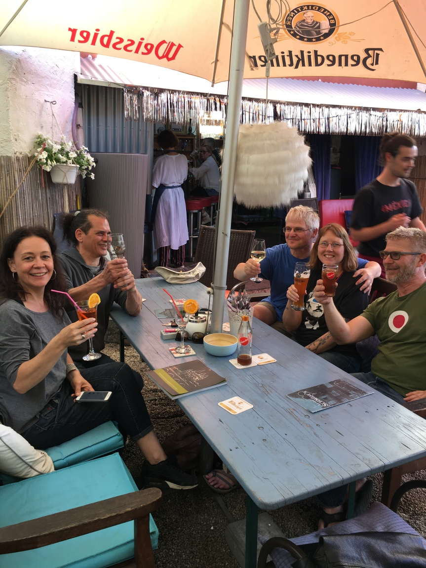 At the beer garden in Limburg. From left to right: Anke, Mark, Andreas, Dragonfly and Burkhard. Photo by Carina Schmidt-Muenchow