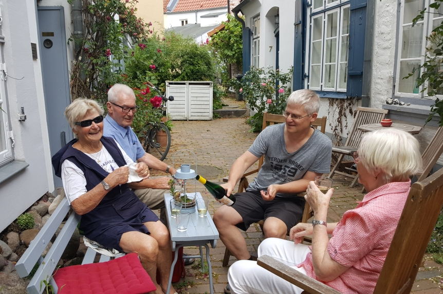 Wine in the Gang in front of our Airbnb with the old school Lubeck gang. From left to right: Christa, Lothar, Andreas and Annemarie. Photo by Dragonfly Leathrum