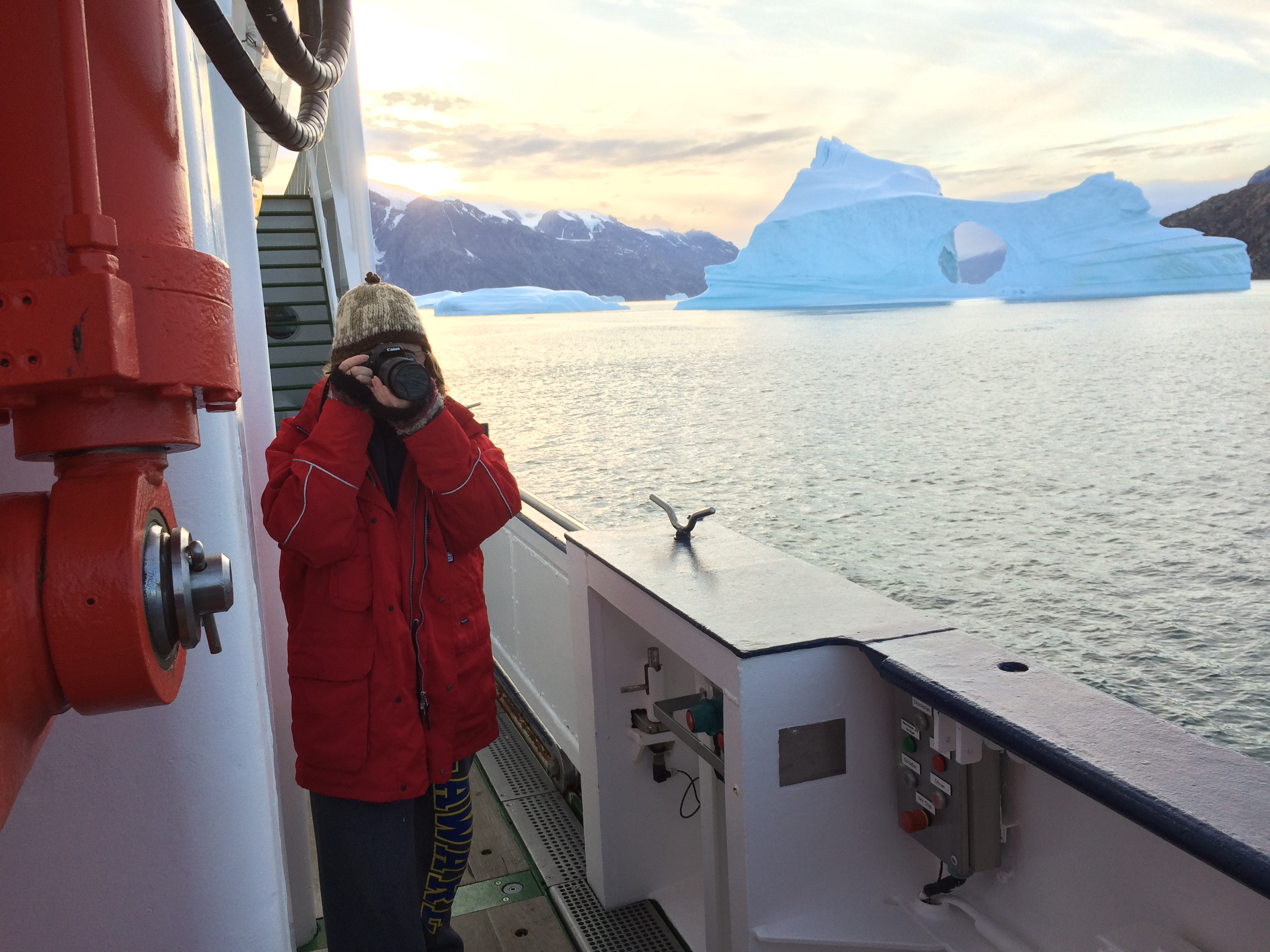 August 21, 8:38pm, Scoresby Sound Greenland. Portait of the author aboard the FS Maria S. Merian by Dr. Andreas Muenchow