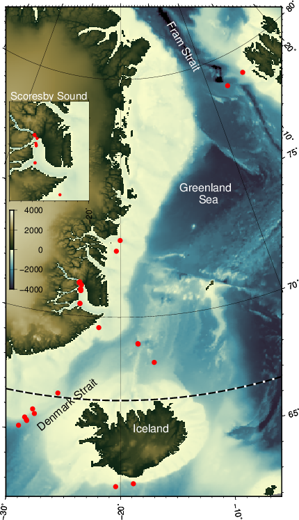 Location of photos (red dots) taken aboard FS Maria S. Merian in August and September of 2018. Colors represent bottom depth (white shallow, blue deep) and elevations (olive). The dotted line to the north of Greenland is the Arctic Circle. [Map by Andreas Muenchow.]