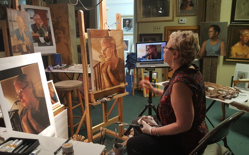 Artist Linda Harris Reynolds in her studio at the Centreville Art Students' League. Photo by Dragonfly Leathrum
