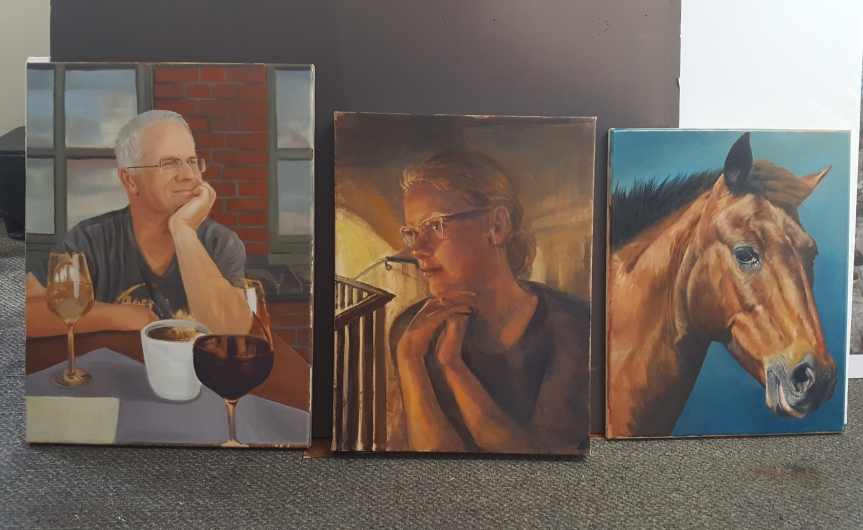 Our class' progress after one week. Even though these painting are unfinished here you can see our distinct styles. Photo by Dragonfly Leathrum