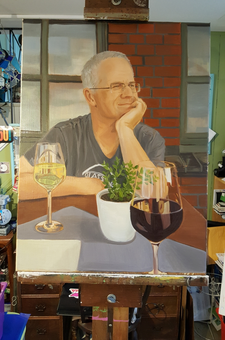 Unfinished painting of Andreas. I hope to post a finished version soon. Photo by Dragonfly Leathrum