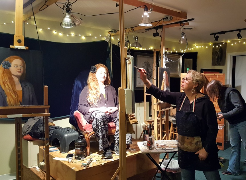 My portrait painting class with Artist Linda Harris Reynolds pictured here working on her demo. Centreville Art Students League. Photo by Dragonfly Leathrum