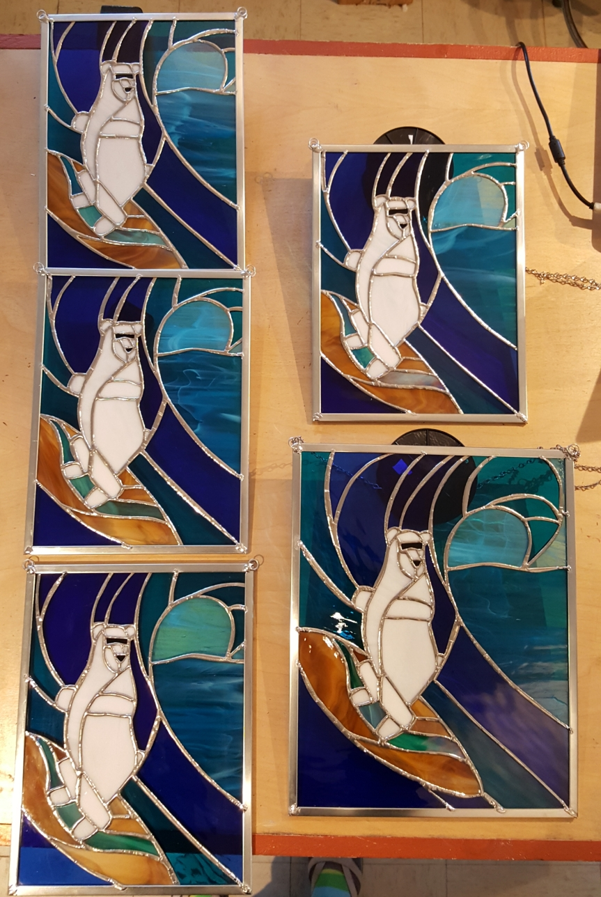 Polar Bear stained glass windows for the Delaware Special Olympics. Glass and photo by Dragonfly Leathrum