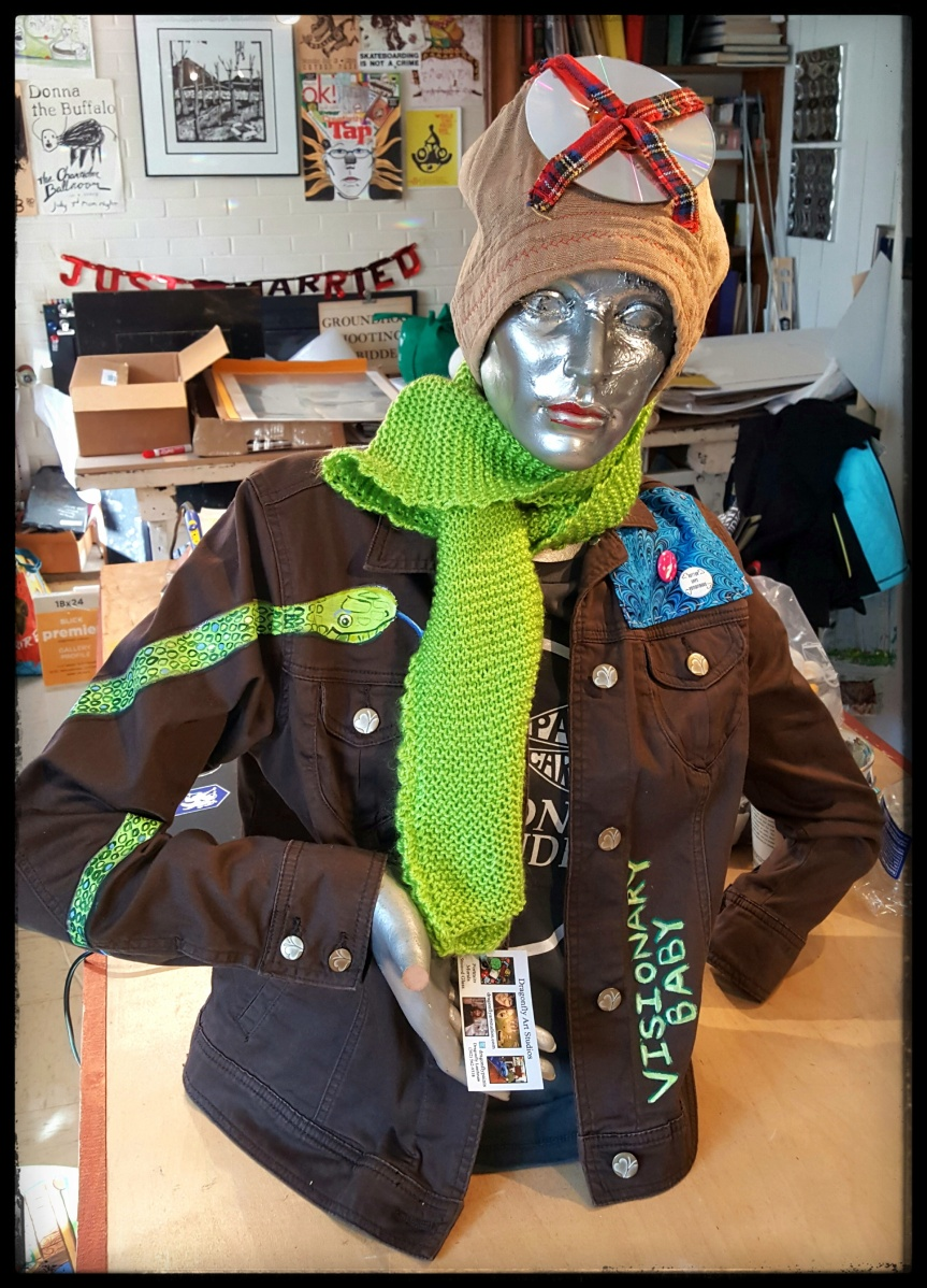 Jacket, scarf and hat created by Dragonfly Art Studios for the Trashy Women show at the Art Den. Photo by Dragonfly Leathrum