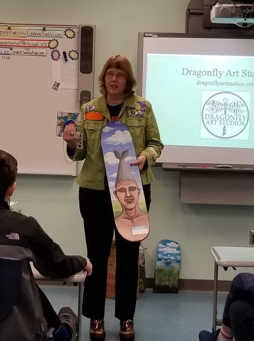 Career Day. Sharing with kids age six to thirteen about how important artists are in society and sharing artwork. Photo by Kathy Mosing Seeman