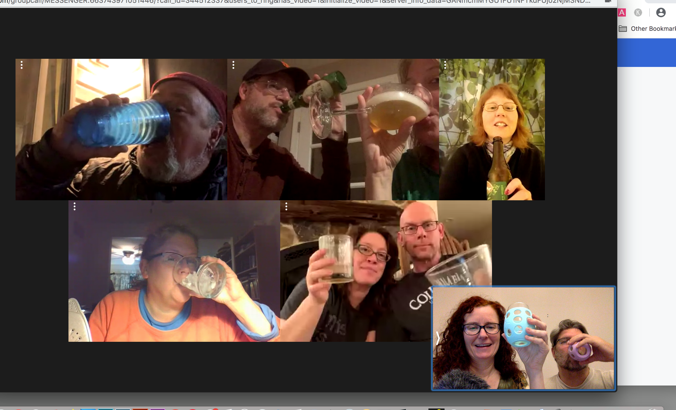 Happy hour with high school friends. Screen shot by Christina Peters.