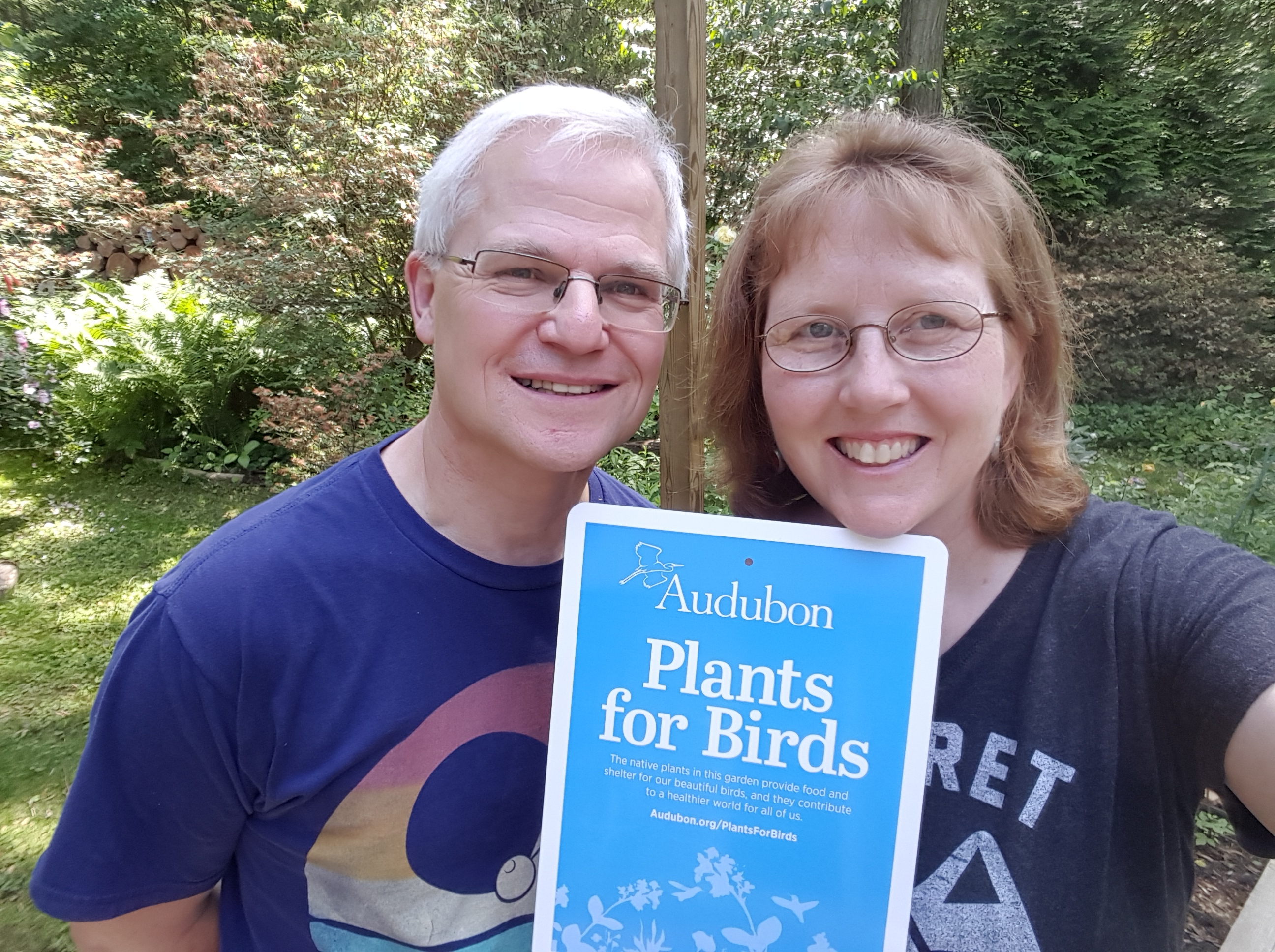 Andreas and I recieved recognition from the Audubon Society for our natural habitats and attention to planting for the birds.