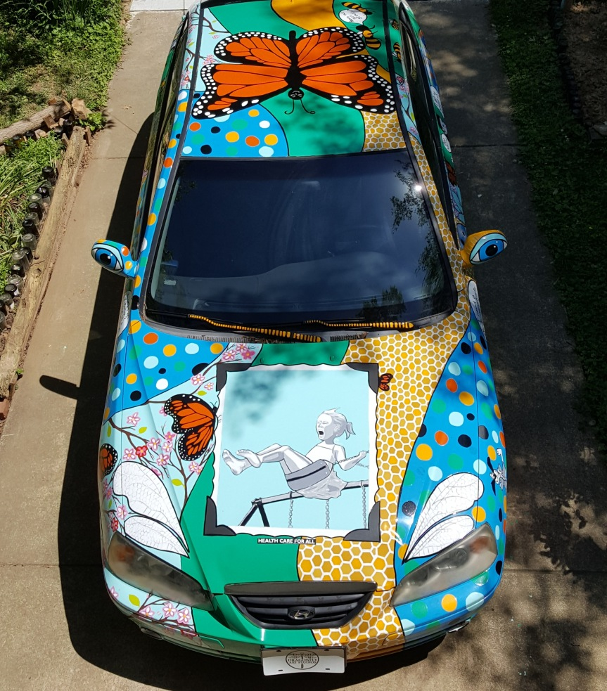 Fresh paint on the Art Car. Photo by Dragonfly Leathrum