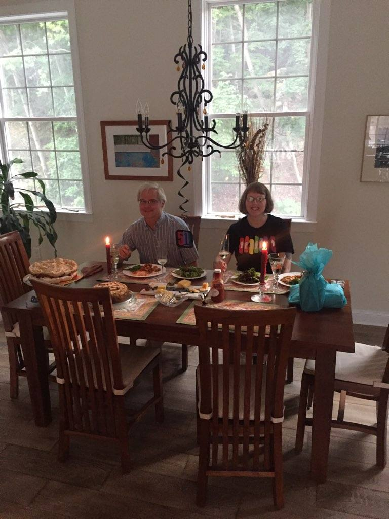 Distance dining. Fantastic dinner by Christina. Photo by Christina Parsons